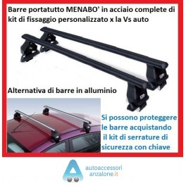"""Barre Portatutto Portabagagli Portapacchi """"Menabo'"""" con Kit specifico personalizzato x ogni auto x tutte le vetture senza rails"""