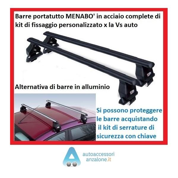 1995-1996 1997-1998 1999 Porte 3 PRONTE per Il Montaggio per Fiat Punto I Anno 1993-1994 F.LLI IANNACCONE Barre PORTATUTTO Portapacchi M-Way MENABO 112 CM SPECIFICHE Acciaio Complete di Kit